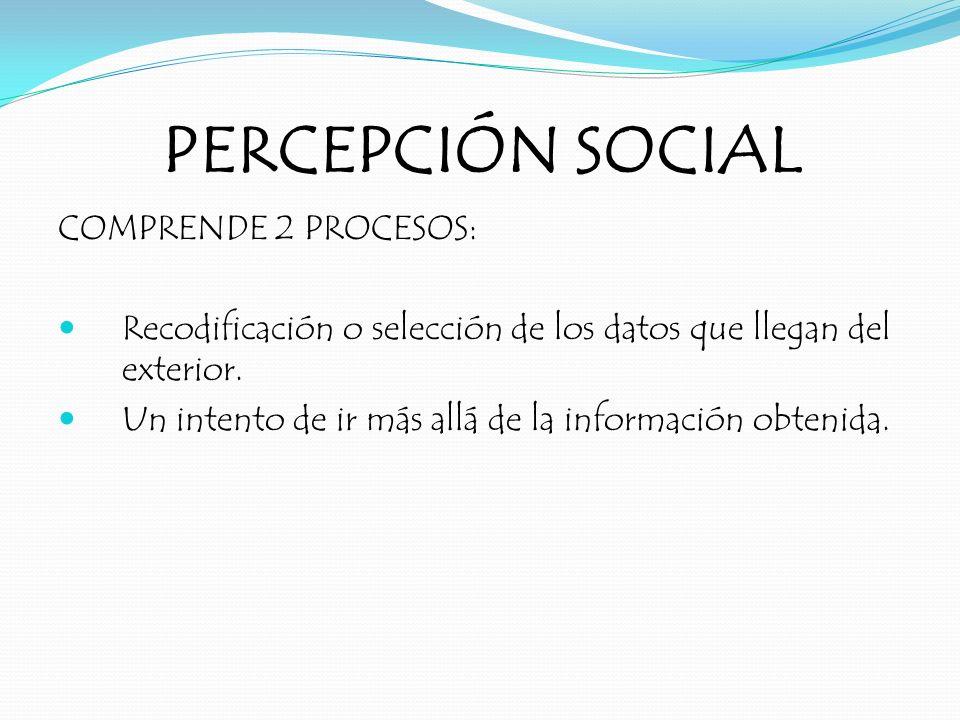 PERCEPCIÓN SOCIAL COMPRENDE 2 PROCESOS: