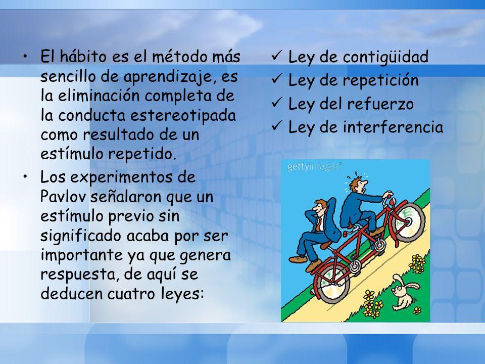 El hábito es el método más sencillo de aprendizaje, es la eliminación completa de la conducta estereotipada como resultado de un estímulo repetido.