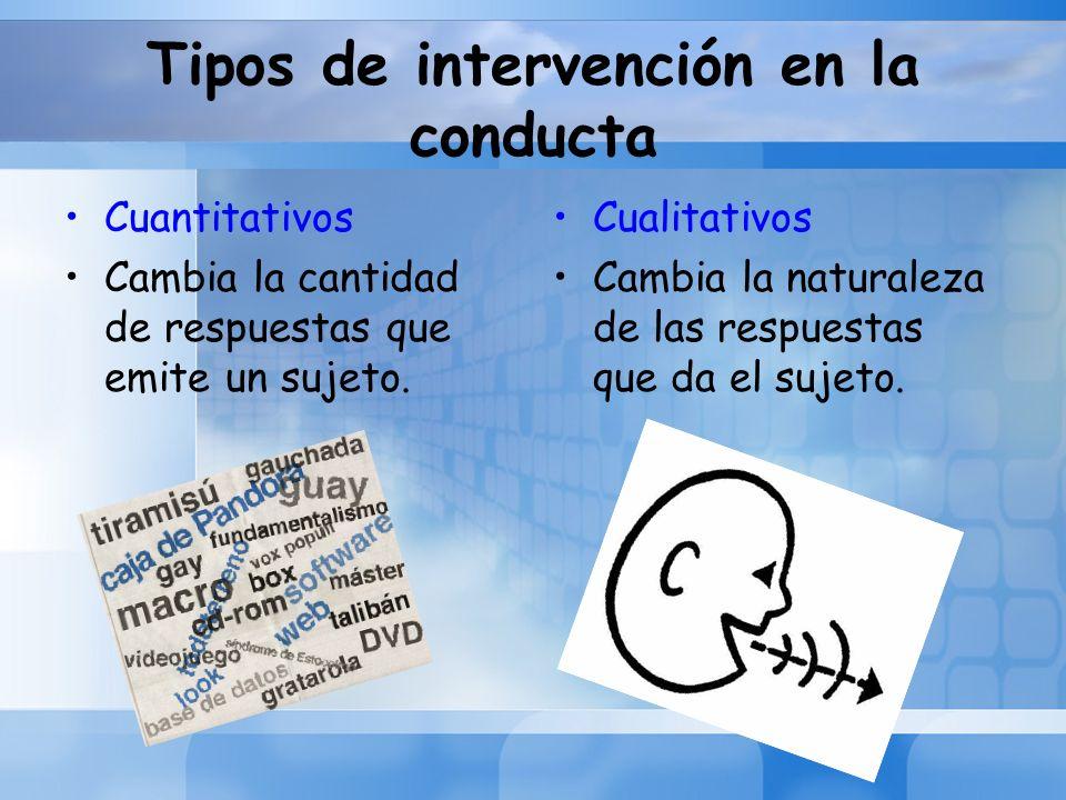 Tipos de intervención en la conducta