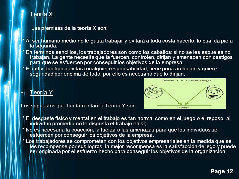 Teoría X Teoría Y Las premisas de la teoría X son:
