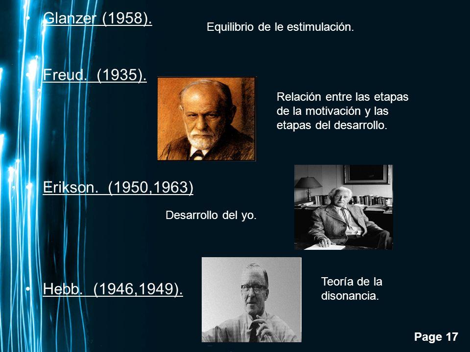 Glanzer (1958). Freud. (1935). Erikson. (1950,1963) Hebb. (1946,1949).