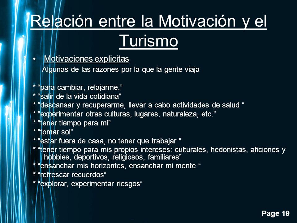 Relación entre la Motivación y el Turismo