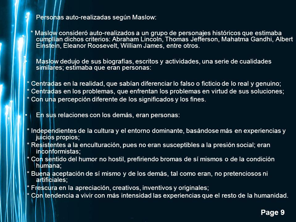Personas auto-realizadas según Maslow: