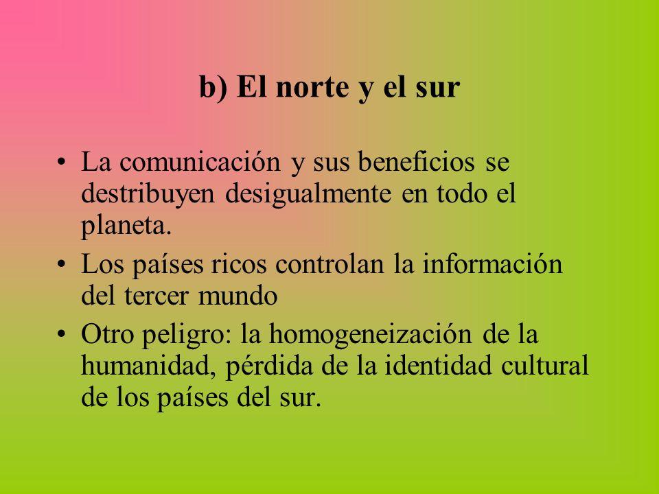 b) El norte y el sur La comunicación y sus beneficios se destribuyen desigualmente en todo el planeta.