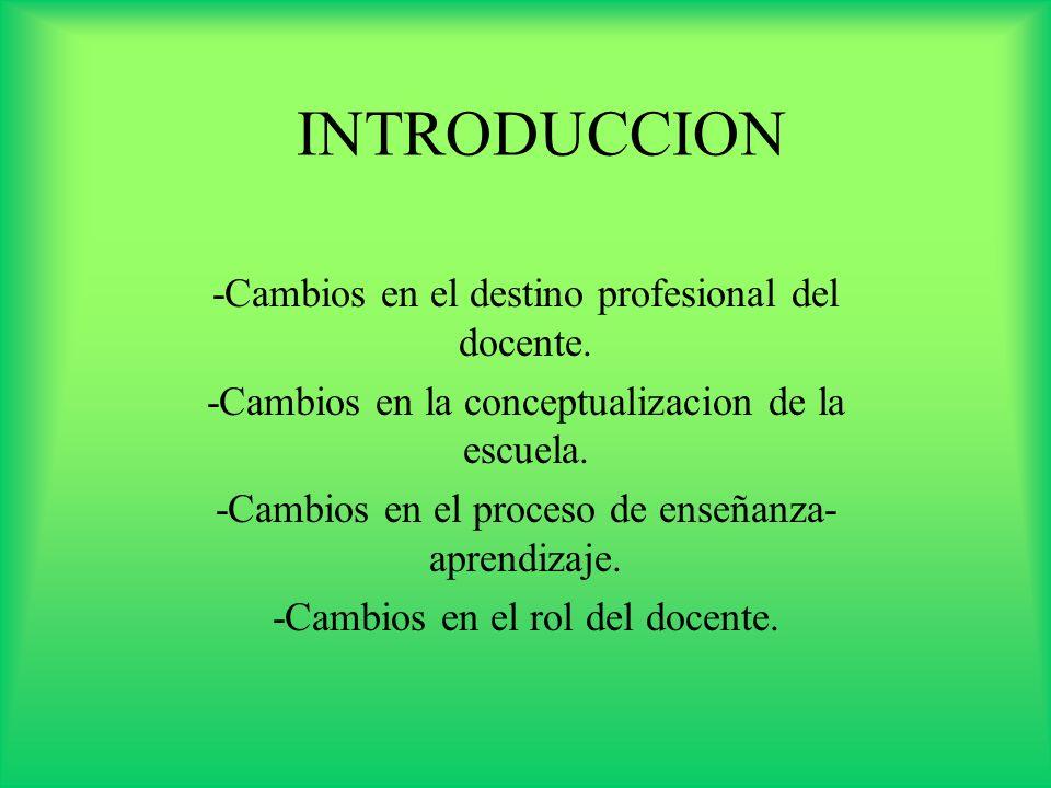 INTRODUCCION -Cambios en el destino profesional del docente.