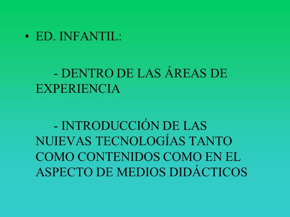 ED. INFANTIL: - DENTRO DE LAS ÁREAS DE EXPERIENCIA.