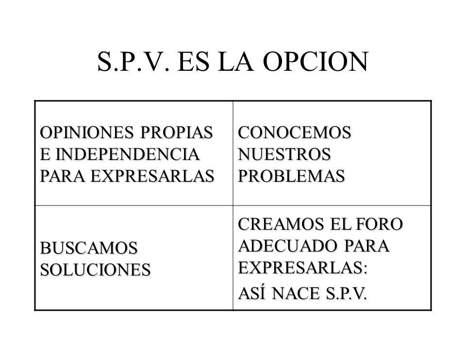 S.P.V. ES LA OPCION OPINIONES PROPIAS E INDEPENDENCIA PARA EXPRESARLAS