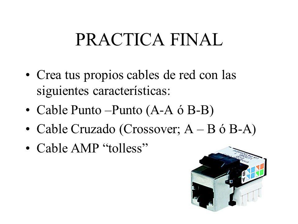 PRACTICA FINALCrea tus propios cables de red con las siguientes características: Cable Punto –Punto (A-A ó B-B)