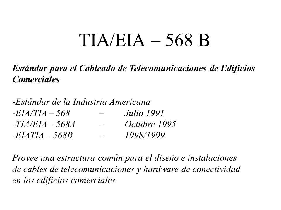 TIA/EIA – 568 B Estándar para el Cableado de Telecomunicaciones de Edificios. Comerciales. Estándar de la Industria Americana.