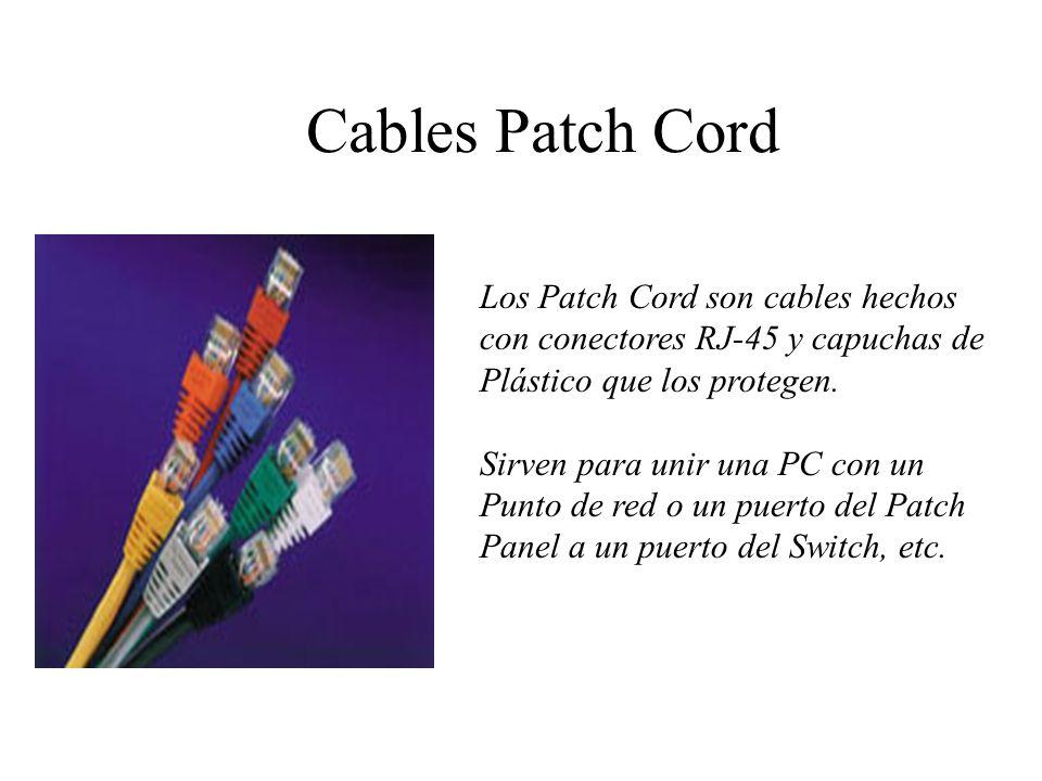 Cables Patch Cord Los Patch Cord son cables hechos con conectores RJ-45 y capuchas de. Plástico que los protegen.