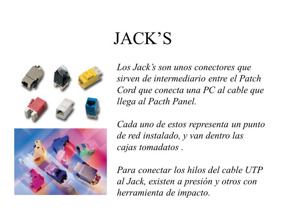 JACK'S Los Jack's son unos conectores que sirven de intermediario entre el Patch. Cord que conecta una PC al cable que.