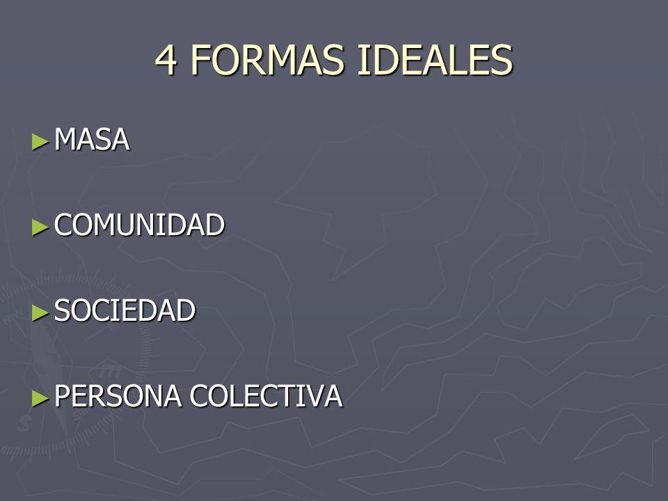 4 FORMAS IDEALES MASA COMUNIDAD SOCIEDAD PERSONA COLECTIVA