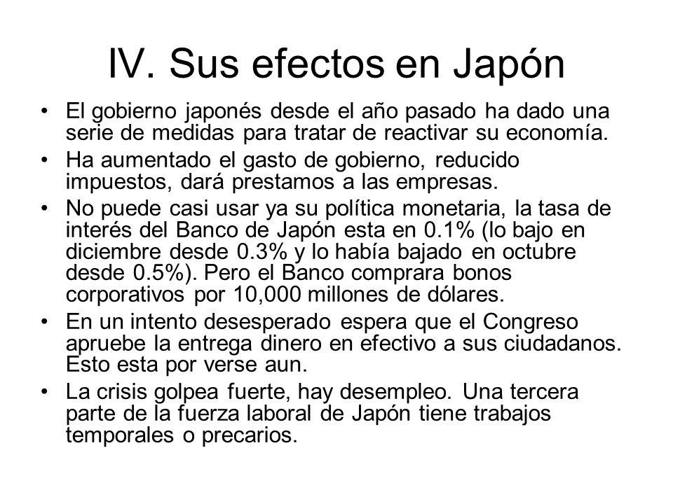IV. Sus efectos en JapónEl gobierno japonés desde el año pasado ha dado una serie de medidas para tratar de reactivar su economía.