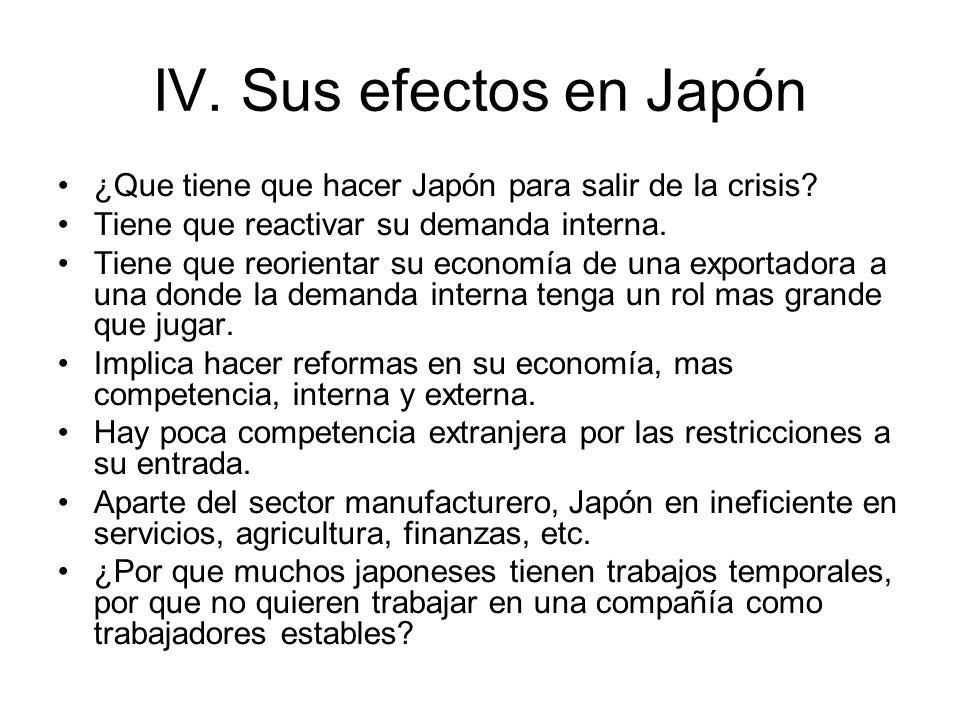IV. Sus efectos en Japón ¿Que tiene que hacer Japón para salir de la crisis Tiene que reactivar su demanda interna.
