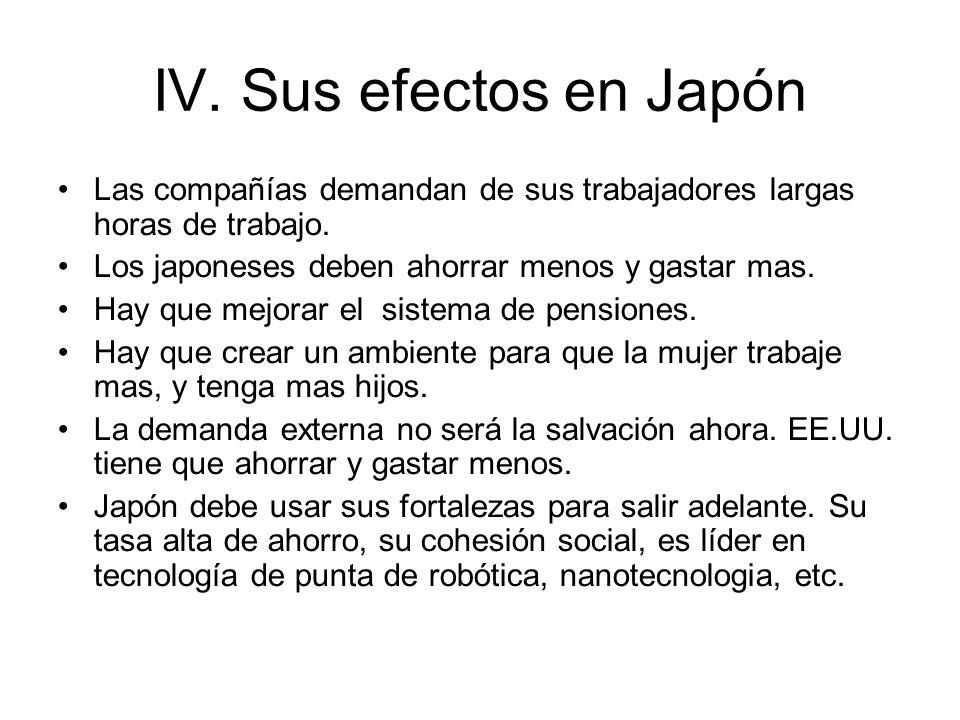 IV. Sus efectos en Japón Las compañías demandan de sus trabajadores largas horas de trabajo. Los japoneses deben ahorrar menos y gastar mas.