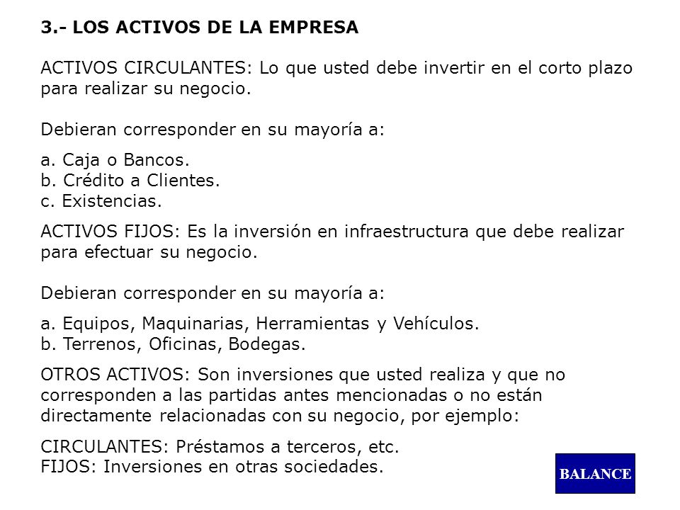 a. Caja o Bancos. b. Crédito a Clientes. c. Existencias.