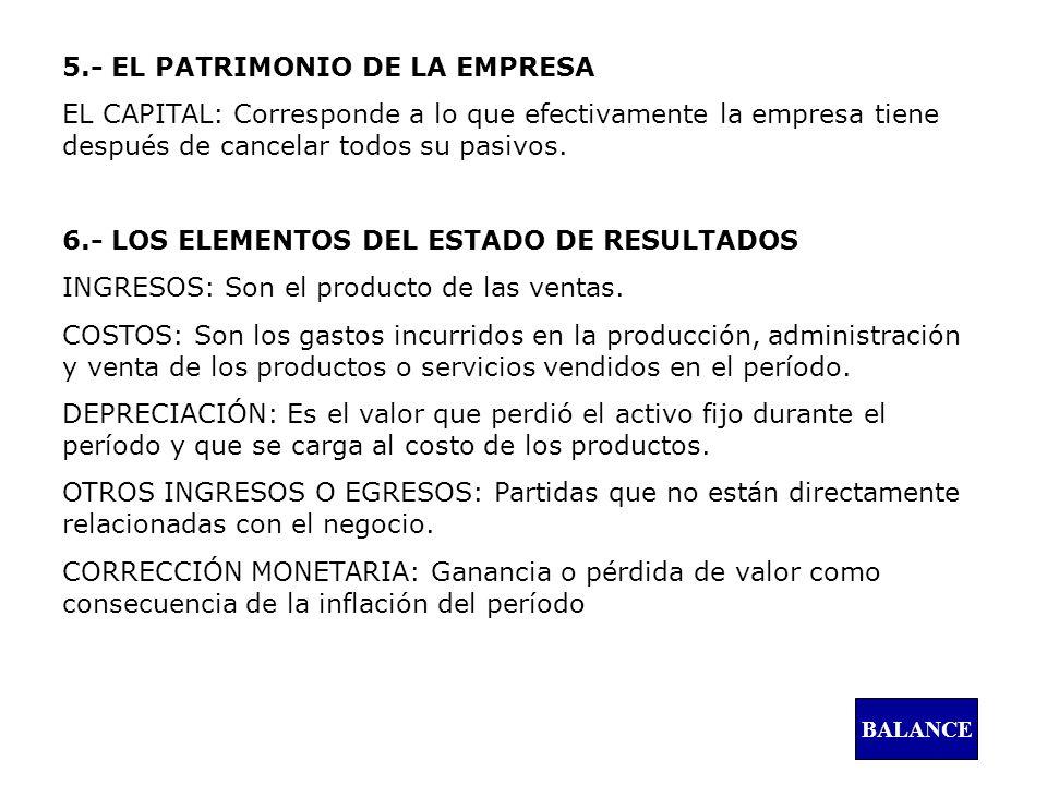 5.- EL PATRIMONIO DE LA EMPRESA