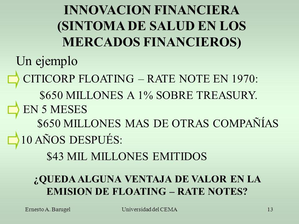 INNOVACION FINANCIERA (SINTOMA DE SALUD EN LOS MERCADOS FINANCIEROS)