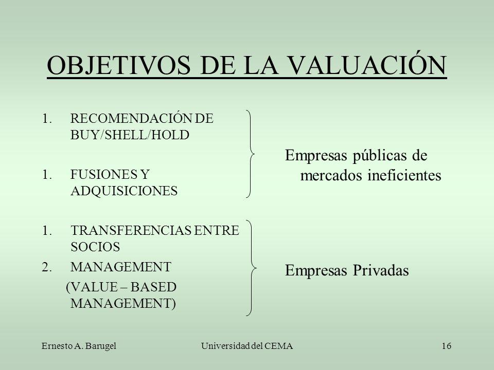OBJETIVOS DE LA VALUACIÓN
