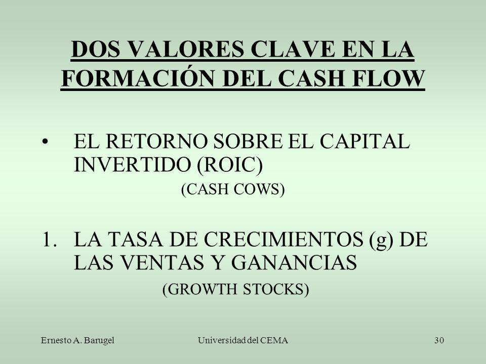 DOS VALORES CLAVE EN LA FORMACIÓN DEL CASH FLOW