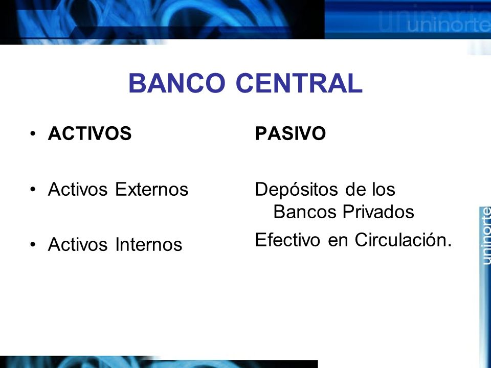 BANCO CENTRAL ACTIVOS Activos Externos Activos Internos PASIVO