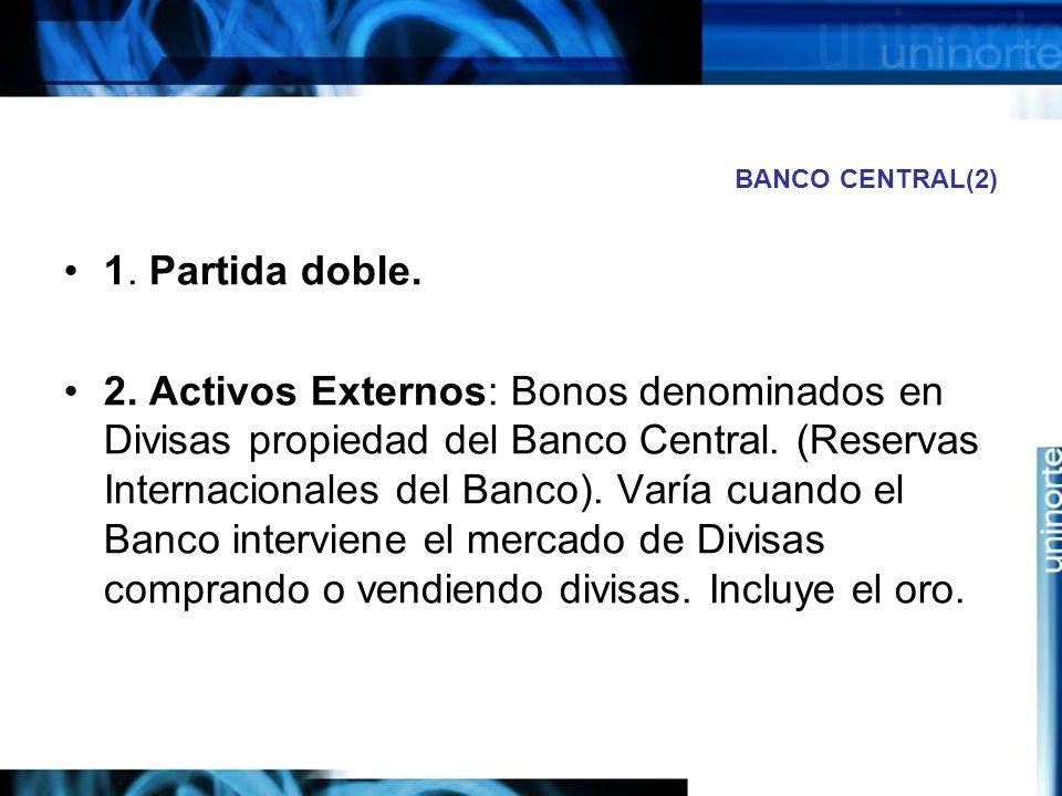 BANCO CENTRAL(2) 1. Partida doble.