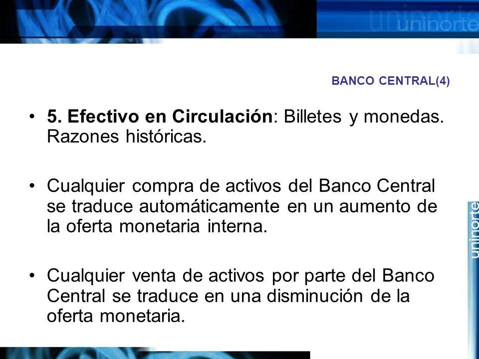 5. Efectivo en Circulación: Billetes y monedas. Razones históricas.