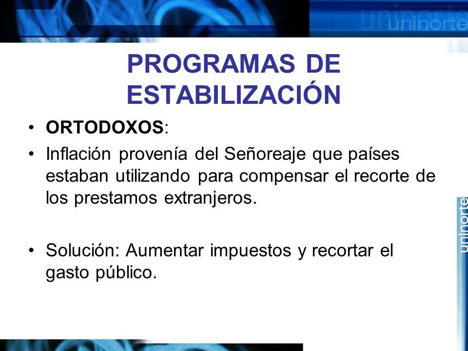 PROGRAMAS DE ESTABILIZACIÓN