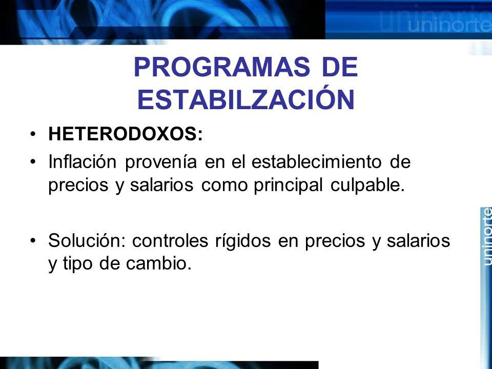 PROGRAMAS DE ESTABILZACIÓN