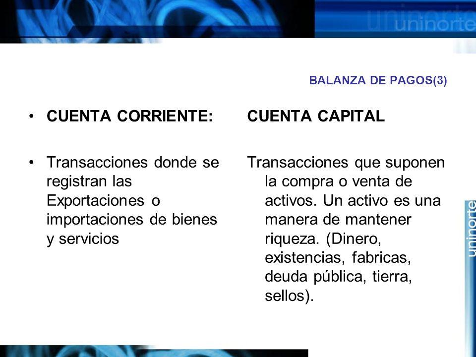 BALANZA DE PAGOS(3) CUENTA CORRIENTE: Transacciones donde se registran las Exportaciones o importaciones de bienes y servicios.