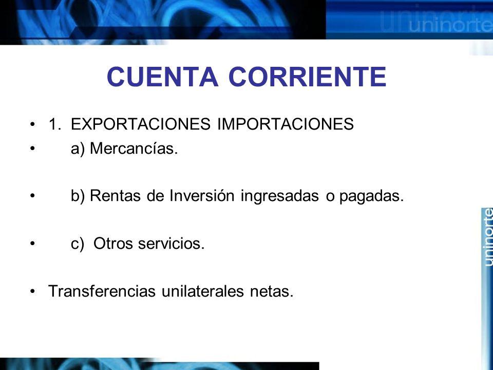 CUENTA CORRIENTE 1. EXPORTACIONES IMPORTACIONES a) Mercancías.
