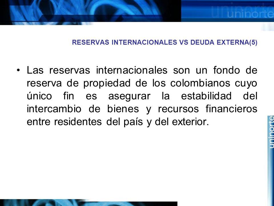 RESERVAS INTERNACIONALES VS DEUDA EXTERNA(5)