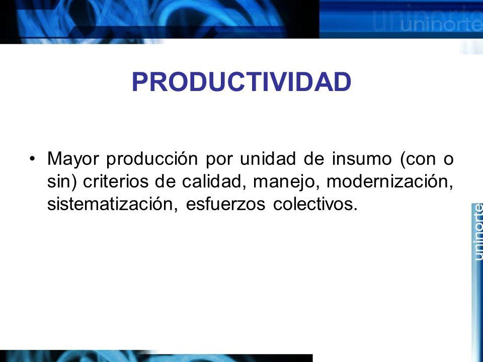 PRODUCTIVIDAD Mayor producción por unidad de insumo (con o sin) criterios de calidad, manejo, modernización, sistematización, esfuerzos colectivos.