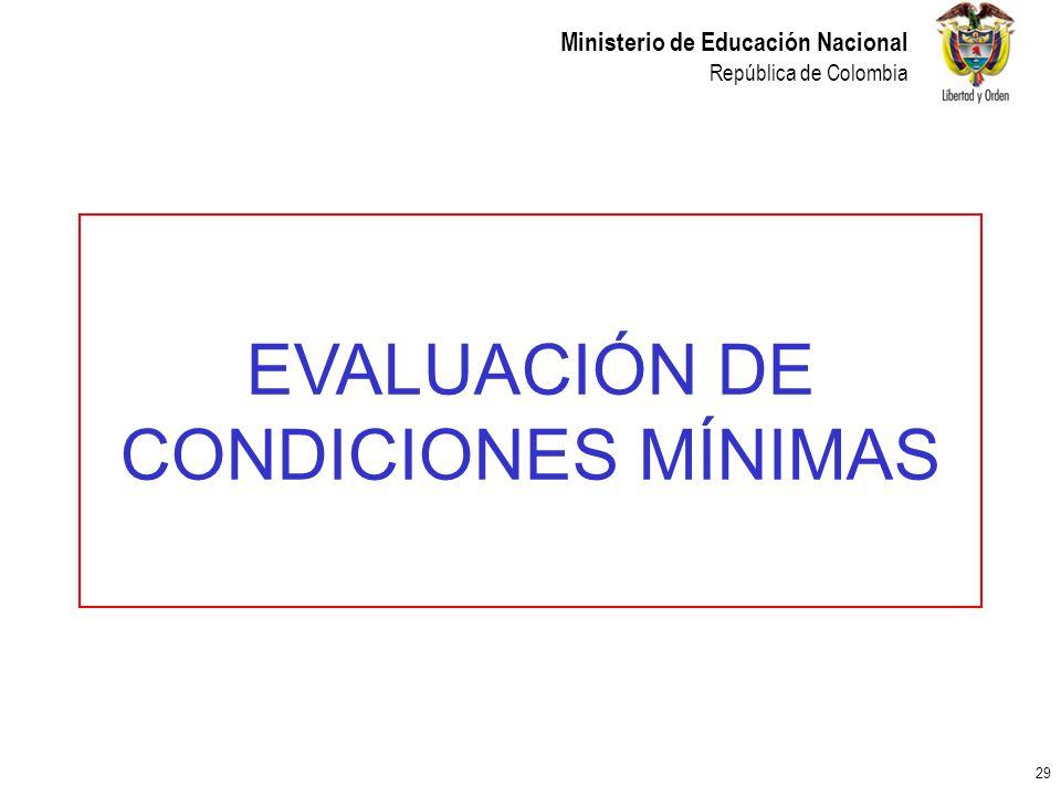 EVALUACIÓN DE CONDICIONES MÍNIMAS