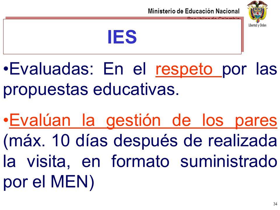 IES Evaluadas: En el respeto por las propuestas educativas.