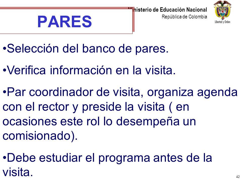 PARES Selección del banco de pares. Verifica información en la visita.