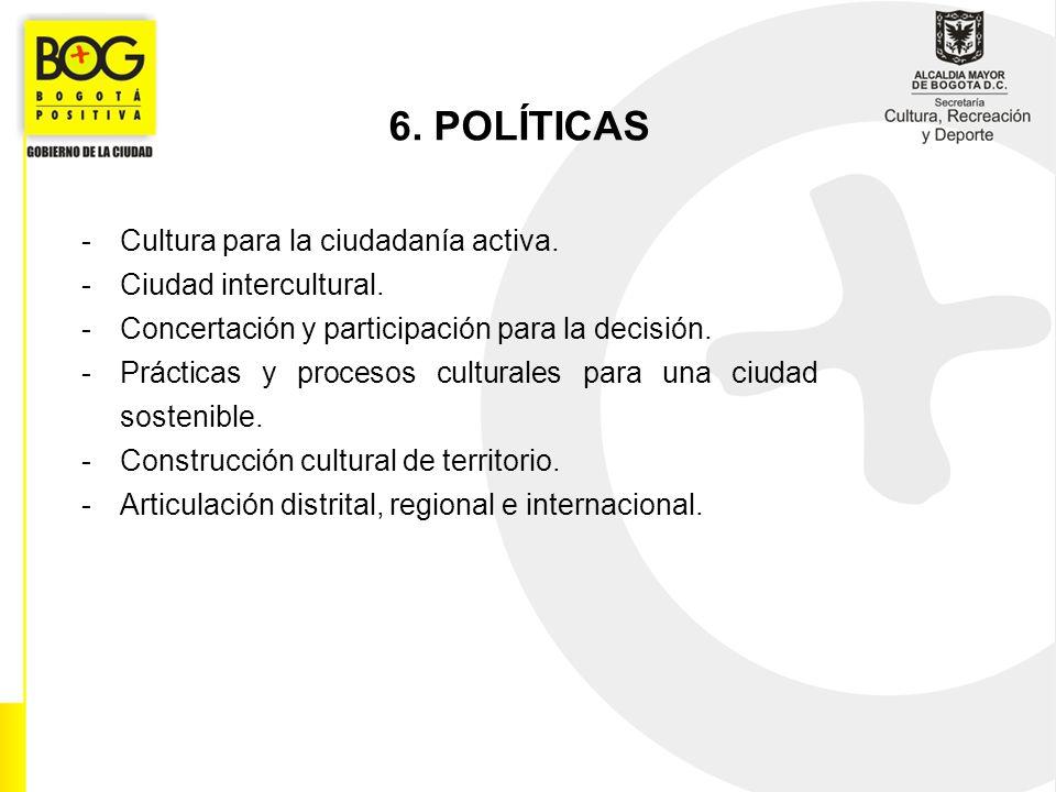 6. POLÍTICAS Cultura para la ciudadanía activa. Ciudad intercultural.