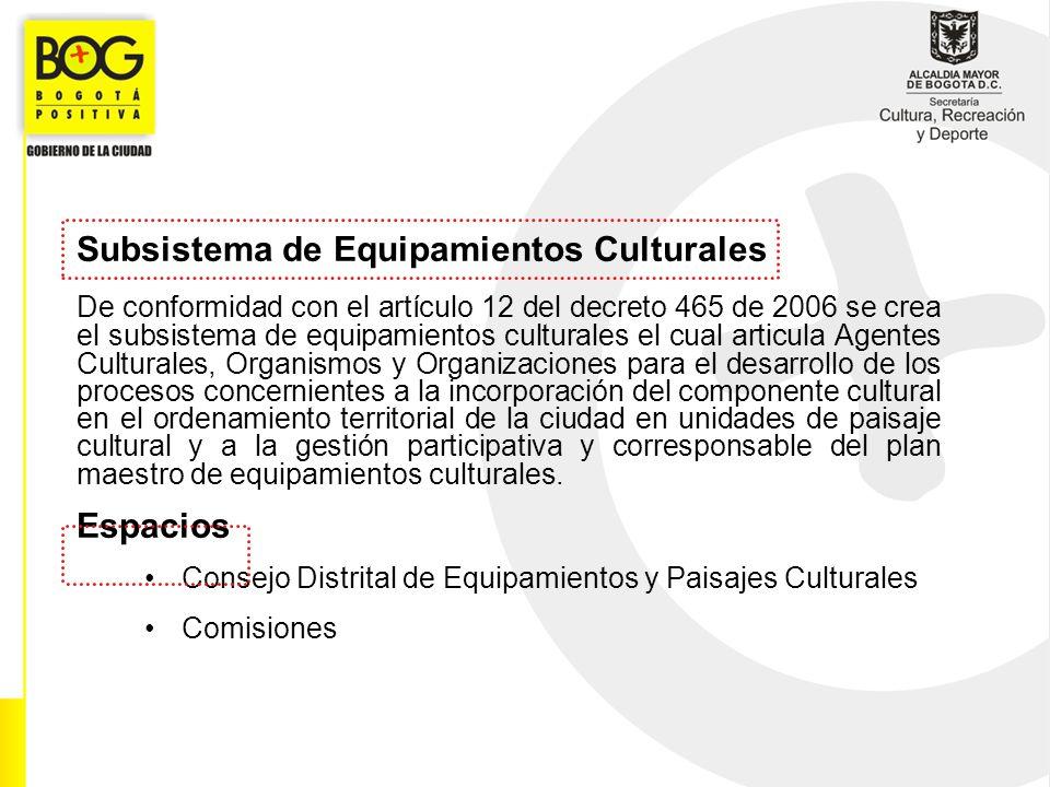 Subsistema de Equipamientos Culturales