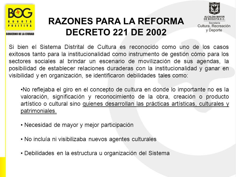 RAZONES PARA LA REFORMA DECRETO 221 DE 2002