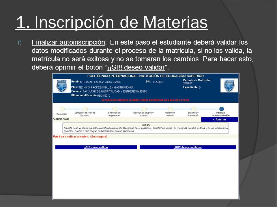 1. Inscripción de Materias