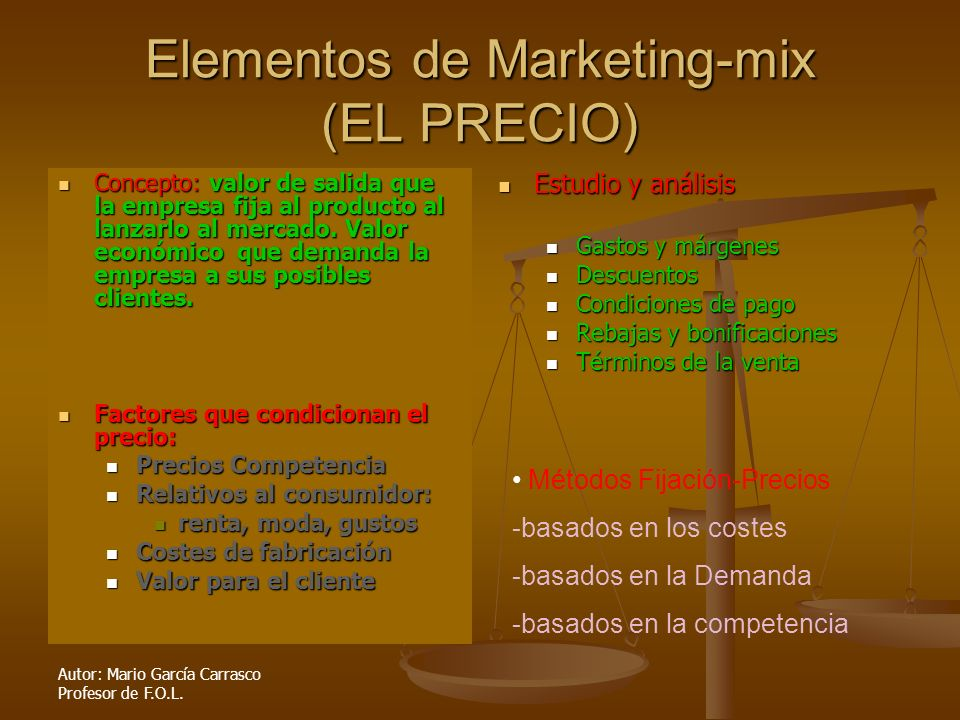 Elementos de Marketing-mix (EL PRECIO)
