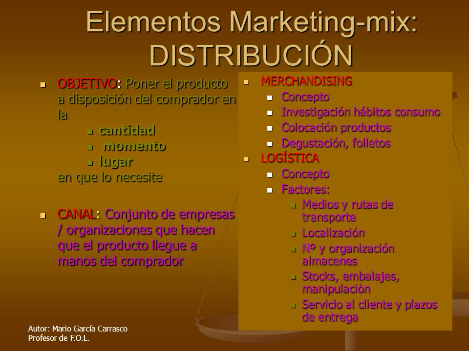 Elementos Marketing-mix: DISTRIBUCIÓN
