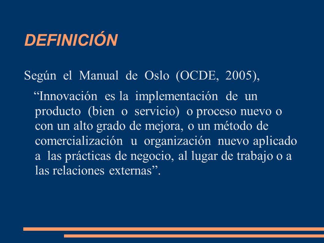 DEFINICIÓN Según el Manual de Oslo (OCDE, 2005),