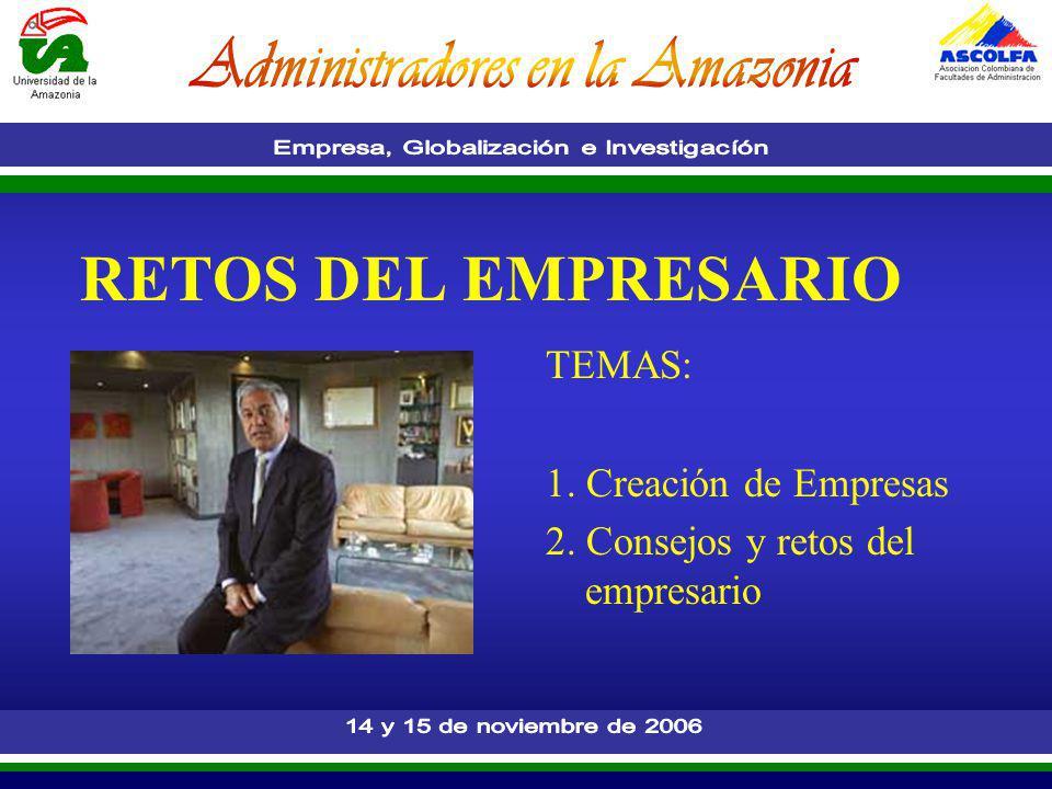 RETOS DEL EMPRESARIO TEMAS: 1. Creación de Empresas