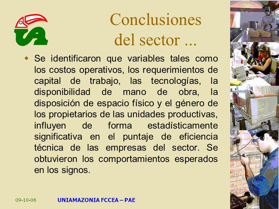 Conclusiones del sector ...