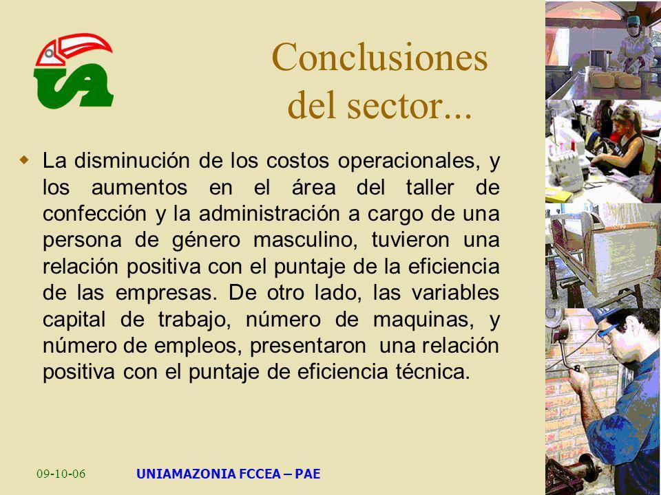 Conclusiones del sector...