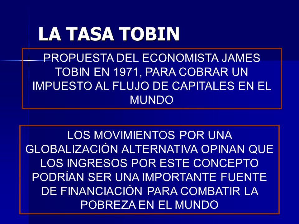 LA TASA TOBIN PROPUESTA DEL ECONOMISTA JAMES TOBIN EN 1971, PARA COBRAR UN IMPUESTO AL FLUJO DE CAPITALES EN EL MUNDO.