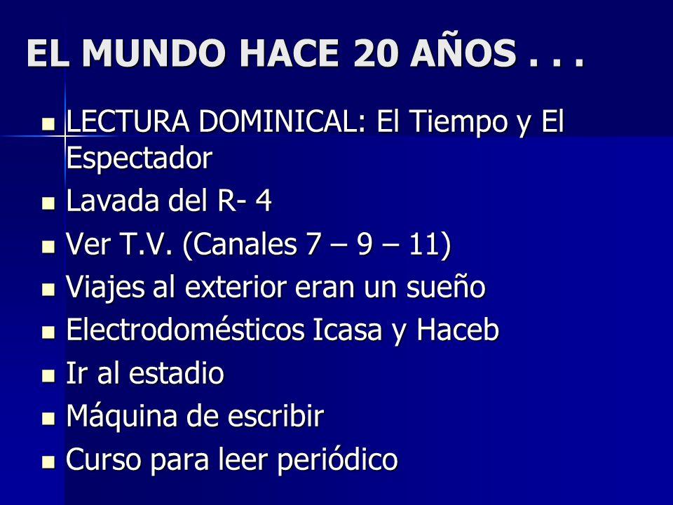 EL MUNDO HACE 20 AÑOS . . . LECTURA DOMINICAL: El Tiempo y El Espectador. Lavada del R- 4. Ver T.V. (Canales 7 – 9 – 11)