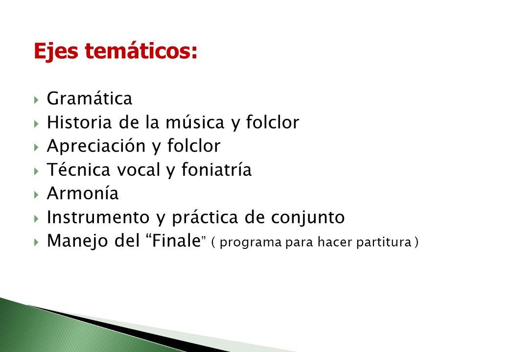 Ejes temáticos: Gramática Historia de la música y folclor
