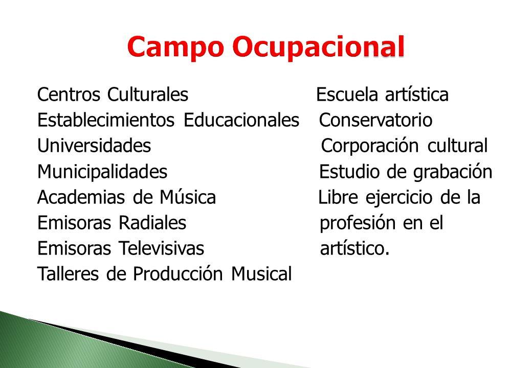 Campo Ocupacional Centros Culturales Escuela artística